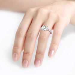 Jeulia Classic Round Cut Sterling Silver Eternity Ring