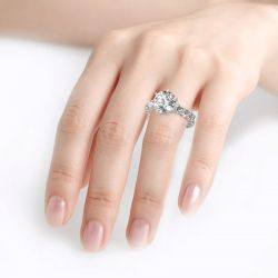 Jeulia Round Cut Eternity Sterling Silver Ring