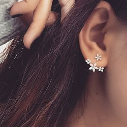 Jeulia Flower Sterling Silver Ear Jackets