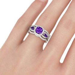 Jeulia  Halo Three Stone Cushion Cut Sterling Silver 3PC Ring Set