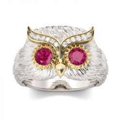 Jeulia  Two Tone Feather Design Round Cut Sterling Silver Owl Ring