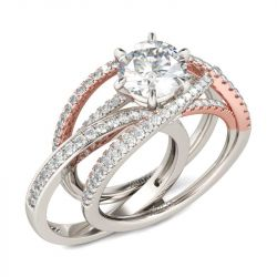 Jeulia  Two Tone Crossover Round Cut Interchangeable Sterling Silver Ring Set