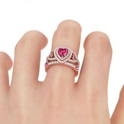 Jeulia  Rose Gold Tone Heart Cut Sterling Silver Ring Set