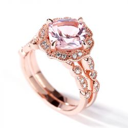 Jeulia Floral Halo Cushion Cut Synthetic Morganite Sterling Silver Ring Set