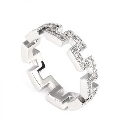 Jeulia The Great Wall Design Sterling Silver Band