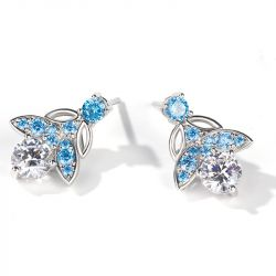 Jeulia Butterfly Round Cut Sterling Silver Earrings