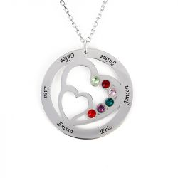 Jeulia Heart in Heart Family Necklace with Birthstones Sterling Silver