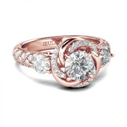 Jeulia Floral Halo Round Cut Sterling Silver Ring