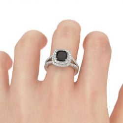 Jeulia Halo Split Shank Cushion Cut Sterling Silver Engagement Ring