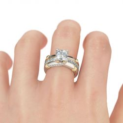 Jeulia Interchangeable Two Tone Round Cut Sterling Silver Ring Set