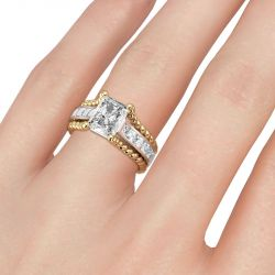 Jeulia Two Tone Radiant Cut Sterling Silver Ring
