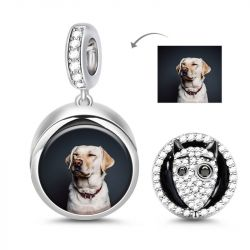 """Frankenweenie"" Bull Terrier Dog Photo Charm Sterling Silver"