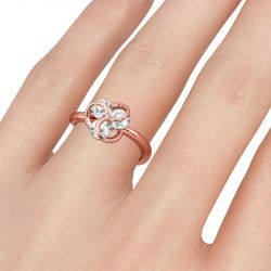 Jeulia Three Stone Round Cut Sterling Silver Cocktail Ring