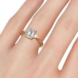Jeulia Three Stone Emerald Cut Sterling Silver Ring