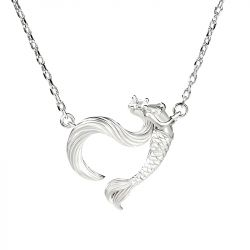"Jeulia ""Dancing by the Moonlight"" Mermaid Sterling Silver Necklace"