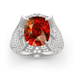 "Jeulia ""The Southern Shining Pyramid"" Egyptian Pyramids Cushion Cut Sterling Silver Ring"
