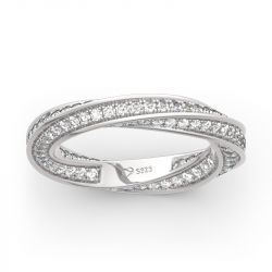 Jeulia Simple Twist Design Sterling Silver Women's Band