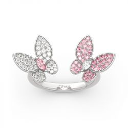 "Jeulia ""Spring is Coming"" Two Butterfly Sterling Silver Ring"
