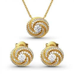 Jeulia Spiral Design Round Cut Sterling Silver Jewelry Set