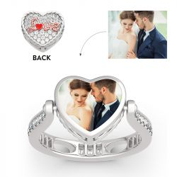 "Jeulia ""I Love You"" Sterling Silver Personalized Photo Ring (With A Free Chain)"