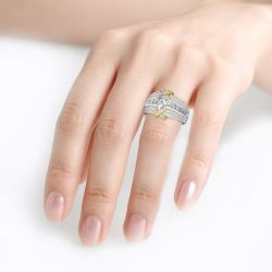 Jeulia Two Tone Princess Cut Sterling Silver Ring