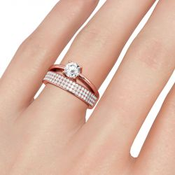 Jeulia Split Shank Round Cut Sterling Silver Ring
