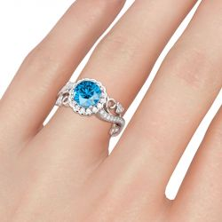 Jeulia Lace Design Round Cut Sterling Silver Ring