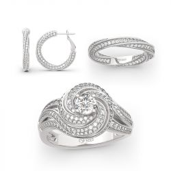 Jeulia Twist Design Sterling Silver Jewelry Set