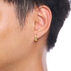 Jeulia Simple Round Cut Titanium Steel Men's Hoop Earrings