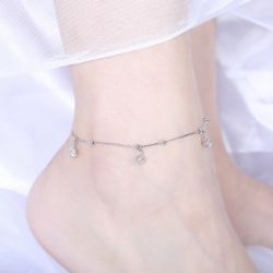 Jeulia Simple Hollow Cube Bead Sterling Silver Anklet