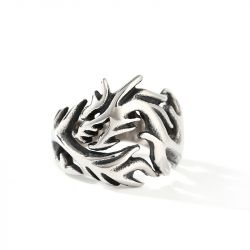 Jeulia Vintage Dragon Titanium Steel Men's Ring