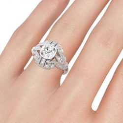 Jeulia Milgrain Cushion Cut Sterling Silver Ring