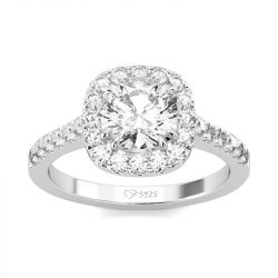 Jeulia Halo Cushion Cut Sterling Silver Ring