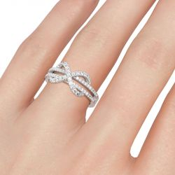 Jeulia Twist Infinity Round Cut Sterling Silver Women's Band
