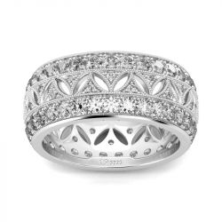 Jeulia Milgrain Design Round Cut Sterling Silver Women's Band