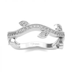 Jeulia Leaf Design Round Cut Sterling Silver Women's Band
