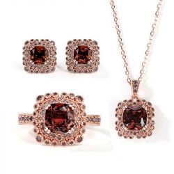 Jeulia Milgrain Design Halo Cushion Cut Sterling Silver Jewelry Set