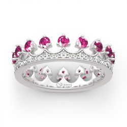 "Jeulia ""Be Your King"" Crown Shape Round Cut Sterling Silver Ring"