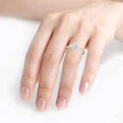 Jeulia Fork Design Round Cut Sterling Silver Ring