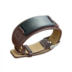 Jeulia Adjustable Stainless Steel Men's Leather Bracelet