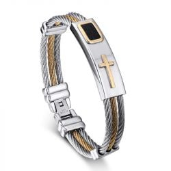 Jeulia Cross Stainless Steel Men's Bracelet