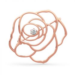 Jeulia Large Rose Flower Shape Sterling Silver Brooch