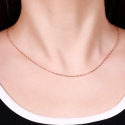 Jeulia Singapore Twisted Link Sterling Silver Chain Necklace