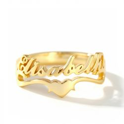 """Jeulia """"KeepLovein Your Heart"""" Personalized Sterling Silver Name Ring"""