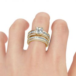 Jeulia Princess Cut Sterling Silver Women's Ring Set