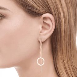 Jeulia Classic Circle Sterling Silver Threader Earrings