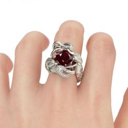 Jeulia  Red Cushion Cut Sterling Silver Mermaid Ring
