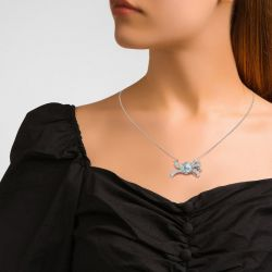 Jeulia Bowknot Design Oval Cut Sterling Silver Cocktail Necklace
