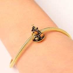 Christmas Tree with Skull Charm Bead Sterling Silver 18k Gold Plated