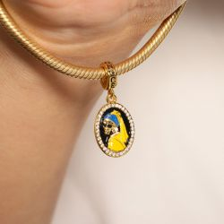 Skull with Pearl Earrings Pendant Dangle Charm Sterling Silver 18k Gold Plated
